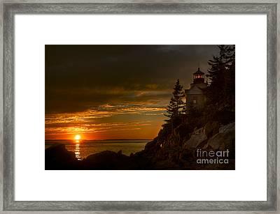 Sunset At Bass Harbor Lighthouse Framed Print by Oscar Gutierrez