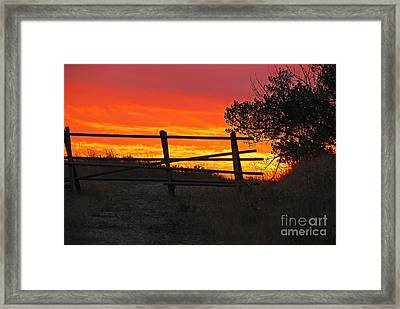 Framed Print featuring the photograph Sunset At Bear Butte by Mary Carol Story