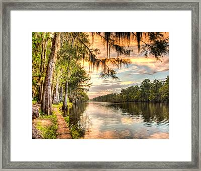 Sunset At Caddo State Park Hdr Framed Print by Geoff Mckay