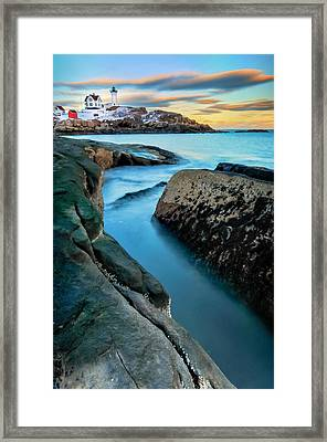 Sunset At Cape Neddick Light- Maine Framed Print by Expressive Landscapes Fine Art Photography by Thom