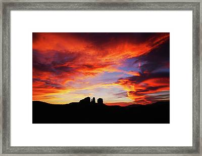 Sunset At Cathedral Framed Print by Tom Kelly