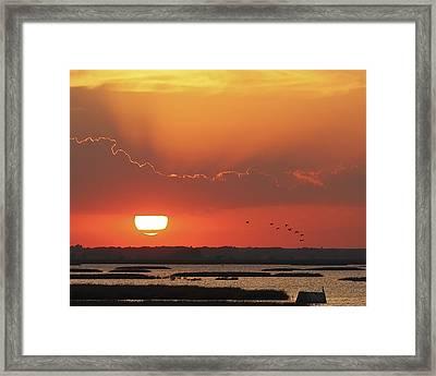 Sunset At Cheyenne Bottoms Framed Print