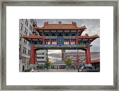 Framed Print featuring the photograph Sunset At Chinatown Gate In Seattle Washington by JPLDesigns