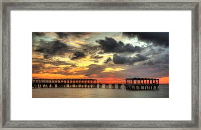 Sunset At Clam Creek Fishing Pier Framed Print by Greg and Chrystal Mimbs