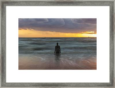 Sunset At Crosby Beach Liverpool Framed Print by Paul Madden