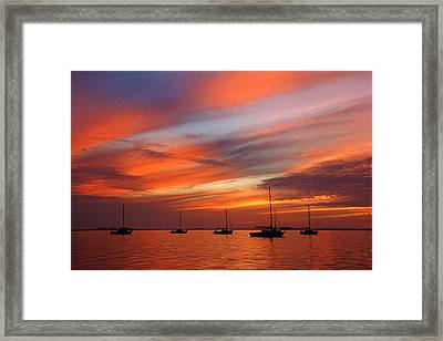 Framed Print featuring the photograph Sunset At Crystal Beach by Daniel Woodrum