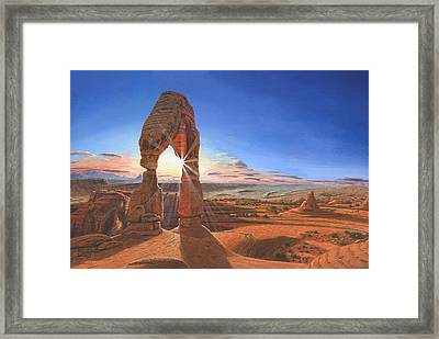 Sunset At Delicate Arch Utah Framed Print