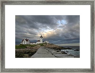 Sunset At Eastern Point Lighthouse Framed Print