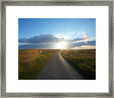 Sunset At End Of Long Country Road Framed Print by Dougal Waters