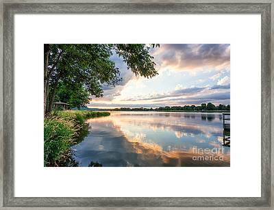 Framed Print featuring the photograph Sunset At Fishing Pier by Kari Yearous