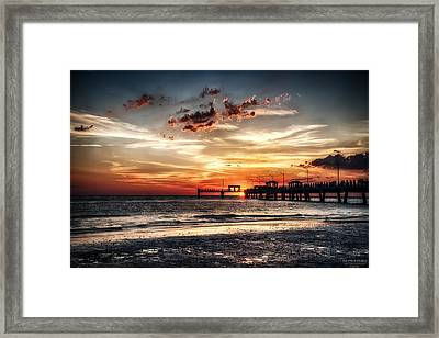 Sunset At Ft Desoto Framed Print by Michael White