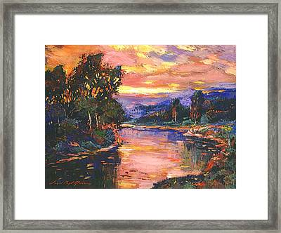 Sunset At Gentle River Framed Print