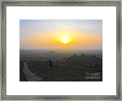 Sunset At Glastonbury Tor Framed Print