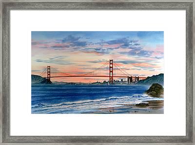 Sunset At Golden Gate Bridge Framed Print by John YATO