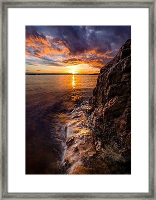 Sunset At Gulf Beach Park Framed Print
