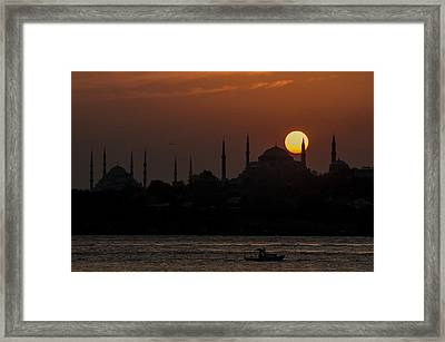 Sunset At Historical Peninsula In Istanbul Framed Print by Ayhan Altun