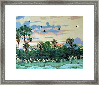 Framed Print featuring the painting Sunset At Hunting Island by Dwain Ray