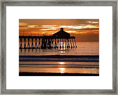 Sunset At Ib Pier Framed Print by Barbie Corbett-Newmin