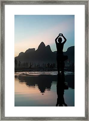 Sunset At Ipanema Beach, Rio De Framed Print