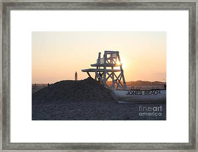 Framed Print featuring the photograph Sunset At Jones Beach by John Telfer