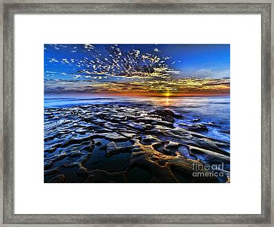 Sunset At La Jolla Tide Pools Framed Print by Peter Dang