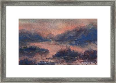 Framed Print featuring the painting Sunset At Lake Champlain by Joy Nichols