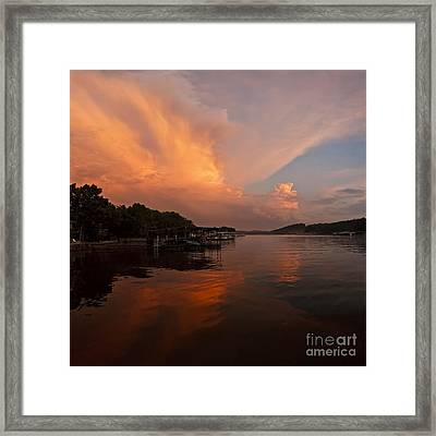 Sunset At Lake Of The Ozarks Framed Print by Dennis Hedberg