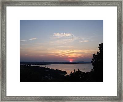 Sunset At Lake Travis Framed Print by Cindy Croal