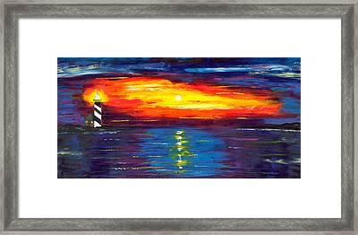 Sunset At Lighthouse Point Framed Print by Jessilyn Park