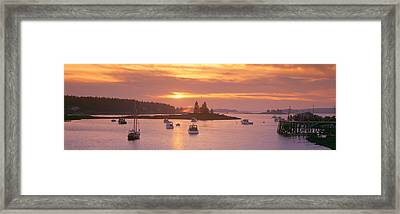 Sunset At Lobster Village, Port Clyde Framed Print by Panoramic Images
