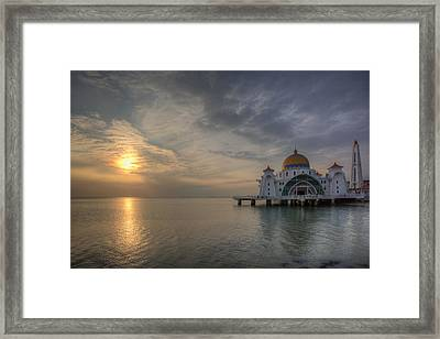 Sunset At Malacca Straits Mosque Framed Print