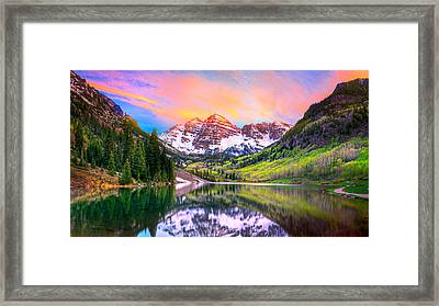 Sunset At Maroon Bells And Maroon Lake Aspen Co Framed Print by James O Thompson