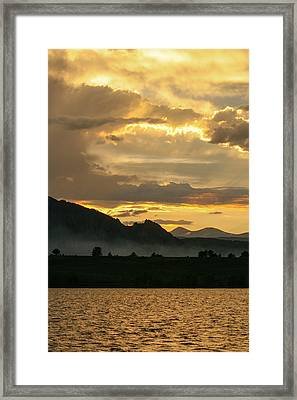 Smokey Sunset At Marshall Lake Framed Print