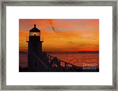 Sunset At Marshall Point Lighthouse At Sunset Maine Framed Print