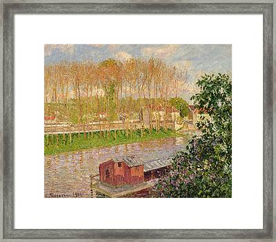 Sunset At Moret Sur Loing Framed Print by Camille Pissarro