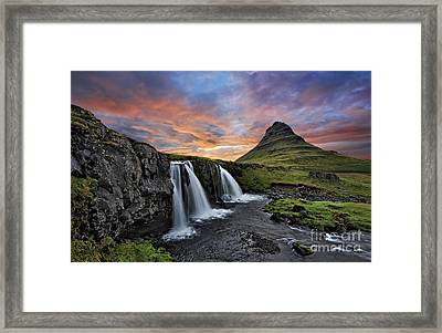 Sunset At Mt. Kirkjufell Framed Print by Roman Kurywczak