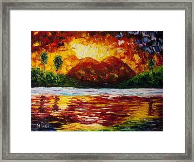Sunset At Mt. Shasta And Lake Heart Framed Print by Natasha Petrosova