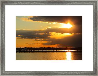 Sunset At National Harbor Framed Print