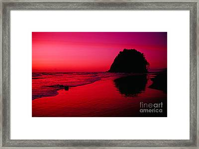 Sunset At Neskowin Beach- Proposal Rock Framed Print