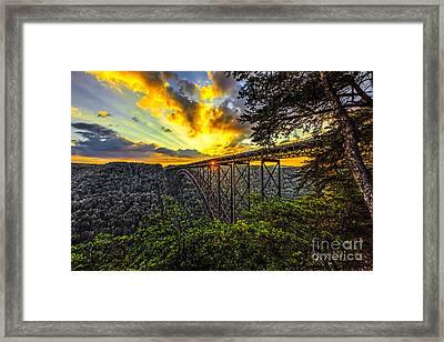 Sunset At New River Gorge Bridge Framed Print by Mark East