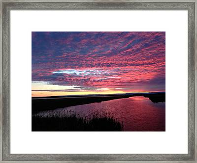 Sunset At North Pool Framed Print by Nancy Landry