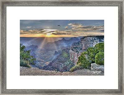 Sunset At Northern Rim Of The Grand Canyon Framed Print
