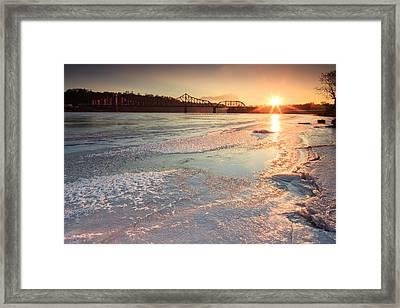 Sunset  At Ohio River  Framed Print