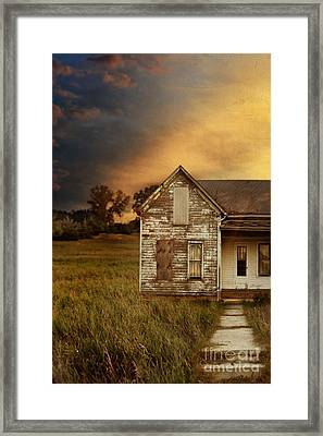 Sunset At Old Farmhouse Framed Print by Jill Battaglia