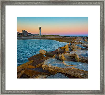 Sunset At Old Scituate Lighthouse Framed Print