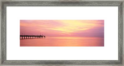 Sunset At Pier, Water, Caspersen Beach Framed Print by Panoramic Images