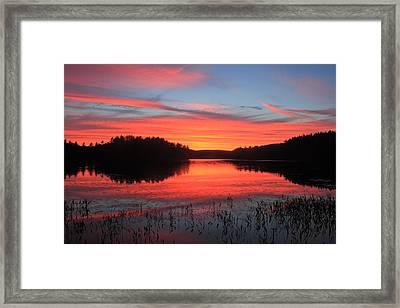 Sunset At Quabbin Reservoir Framed Print by John Burk