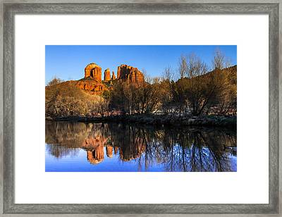 Sunset At Red Rocks Crossing In Sedona Az Framed Print by Teri Virbickis