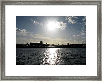 Framed Print featuring the photograph Sunset At Royal Albert Dock by Helene U Taylor