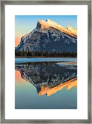 Sunset At Rundle Mountain Framed Print